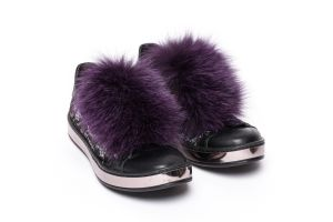 Shoe accessory fox fur purple
