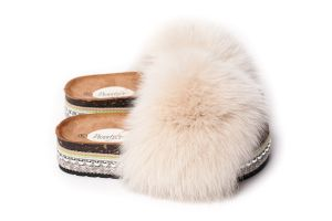 Slippers with fox fur light beige