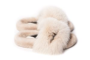 Slippers with mink and fox fur in beige