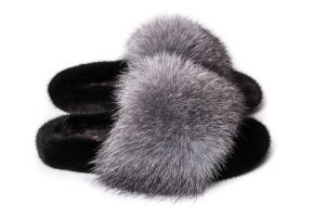 Slippers with mink and fox fur in black / silver blue