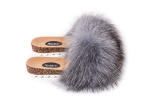 Slippers with fox fur blue silver frost (NEW)