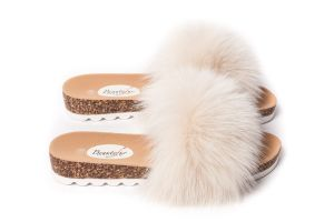 Slippers with fox fur in beige (NEW)