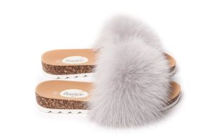 Slippers with fox fur in  grey colour (NEW)