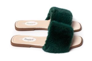 Slippers with mink fur in green