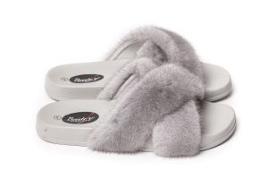 Slippers with mink fur in grey colour (NEW)