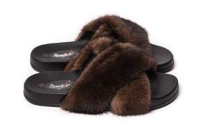Slippers with mink fur in brown colour (NEW)