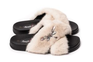 Slippers with mink fur in beige colour (NEW)