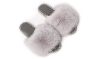 Slippers with light grey fox fur