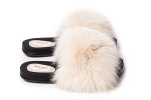 Slippers with fox fur in beige colour (NEW)