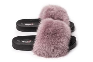 Slippers with fox fur dusty rose colour