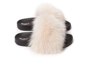 Slippers with fox fur light beige  colour