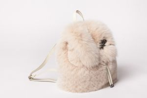 Backpack from fox fur in beige colour