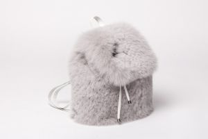 Backpack from fox fur grey