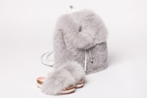 Set of fox fur backpack and fox fur slippers (grey)