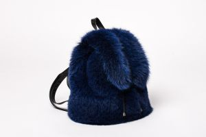 Backpack from fox fur blue