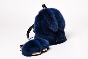 Set of fox fur backpack and fox fur slippers (blue)