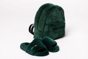 Set of mink fur backpack and mink fur slippers (green)