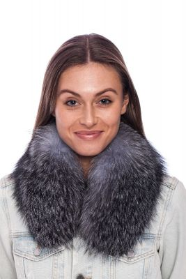 Collar from fox fur blue silver