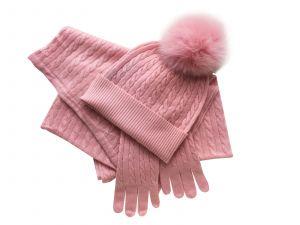 100% cashmere set pink