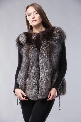 Classic vest of blue silver fox