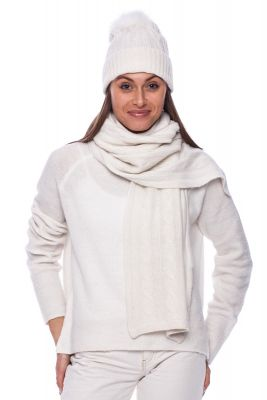 Cashmere scarf in white