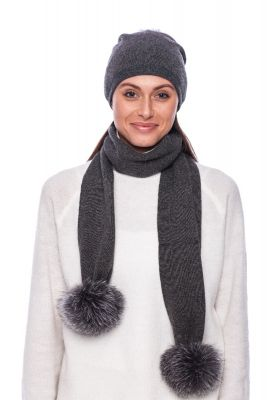 Cashmere and wool scarf darkest grey   with pompoms blue silver fox