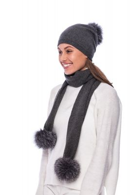 Knitted dark grey cashmere and wool set with pompoms