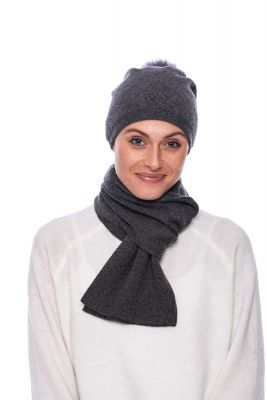 Cashmere and wool scarf dark grey
