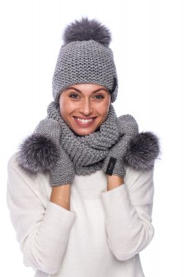 Knitted grey wool set