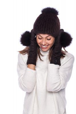 Dark brown wool mittens with dark brown pompom