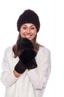 Wool mittens with mink dark brown