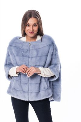Mink fur poncho light grey