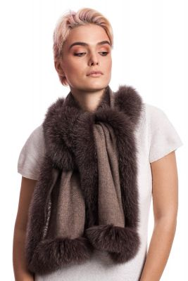Cashmere scarf with brown fox fur