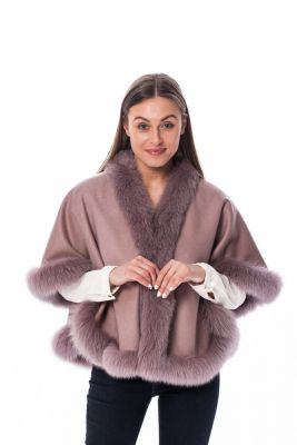 Wool and cashmere poncho dusty rose  with  dusty rose fox fur