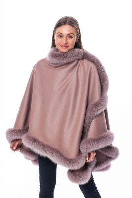 Wool and cashmere poncho dusty rose with dusty rose fox