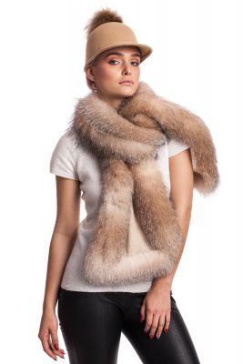 Cashmere scarf with golden blue silver fox fur