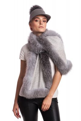 Cashmere scarf with blue silver fox fur