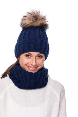 Set of wool snood and hat with pompom (blue)