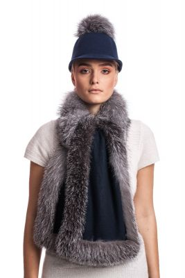 Cashmere scarf with fox Blue silver