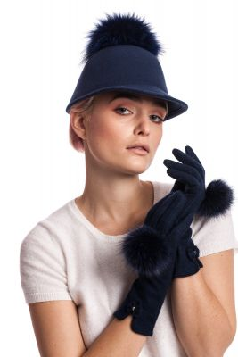 Wool gloves with blue fox pompoms