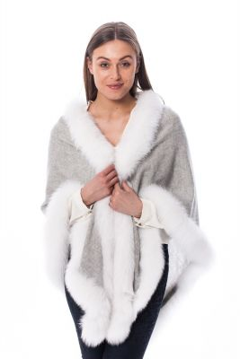 Cashmere scarf with white fox