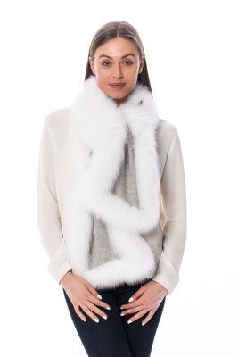 Cashmere scarf  grey with white fox