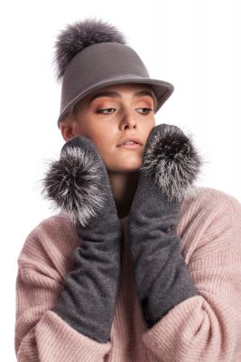 Grey wool long mittens with silver fox pompom