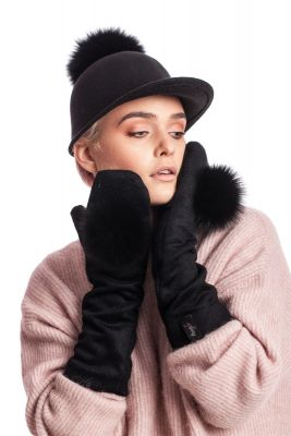 Wool long mittens with silver fox pompom