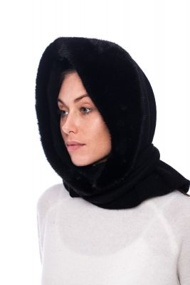 Mink fur hood  in black