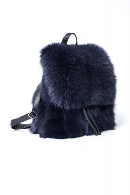 Fox fur backpack in dark  blue