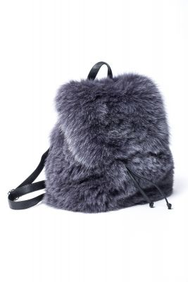 Fox fur backpack in dark grey