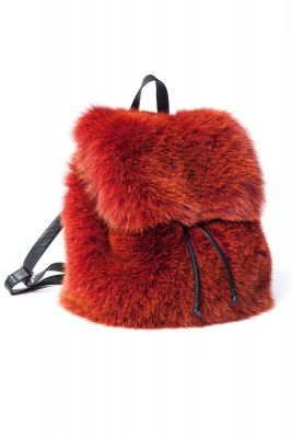Fox fur backpack in orange