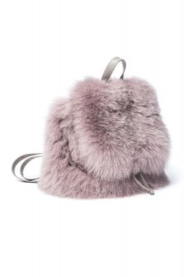 Backpack from fox fur beige