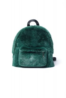 Backpack from mink fur (dark green)
